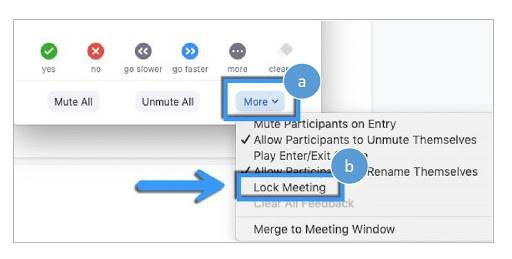 Screenshot showing the second step of locking a Zoom meeting