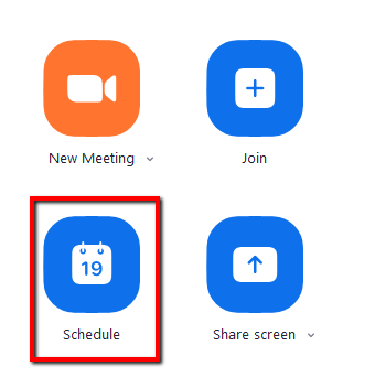Screenshot highlighting the Schedule icon in the Zoom app