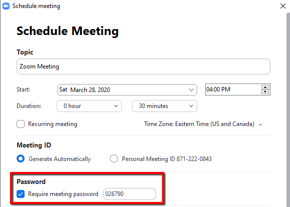 Screenshot showing the location of the Zoom Meeting Password option