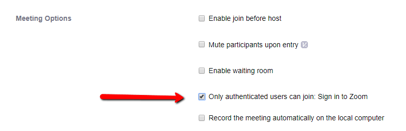 Screenshot showing the meeting options showing Only Authenticated users can join: Sign in to Zoom