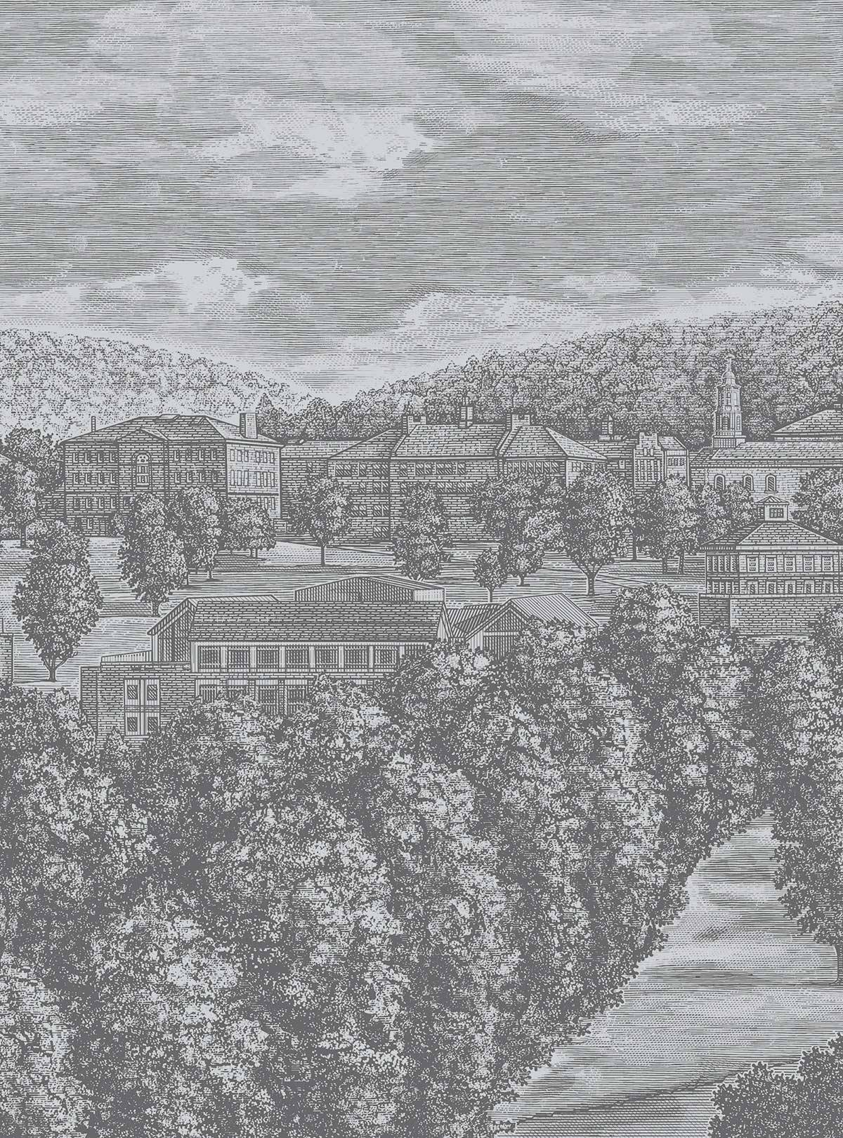 Woodcut style illustration of the Colgate campus
