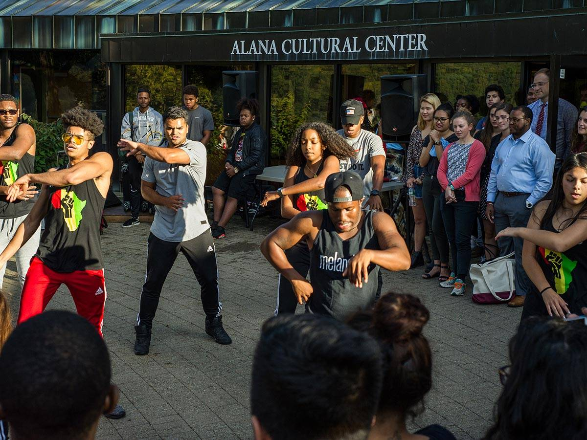 Students dance outside the ALANA Cultural Center at the ALANA Palooza event
