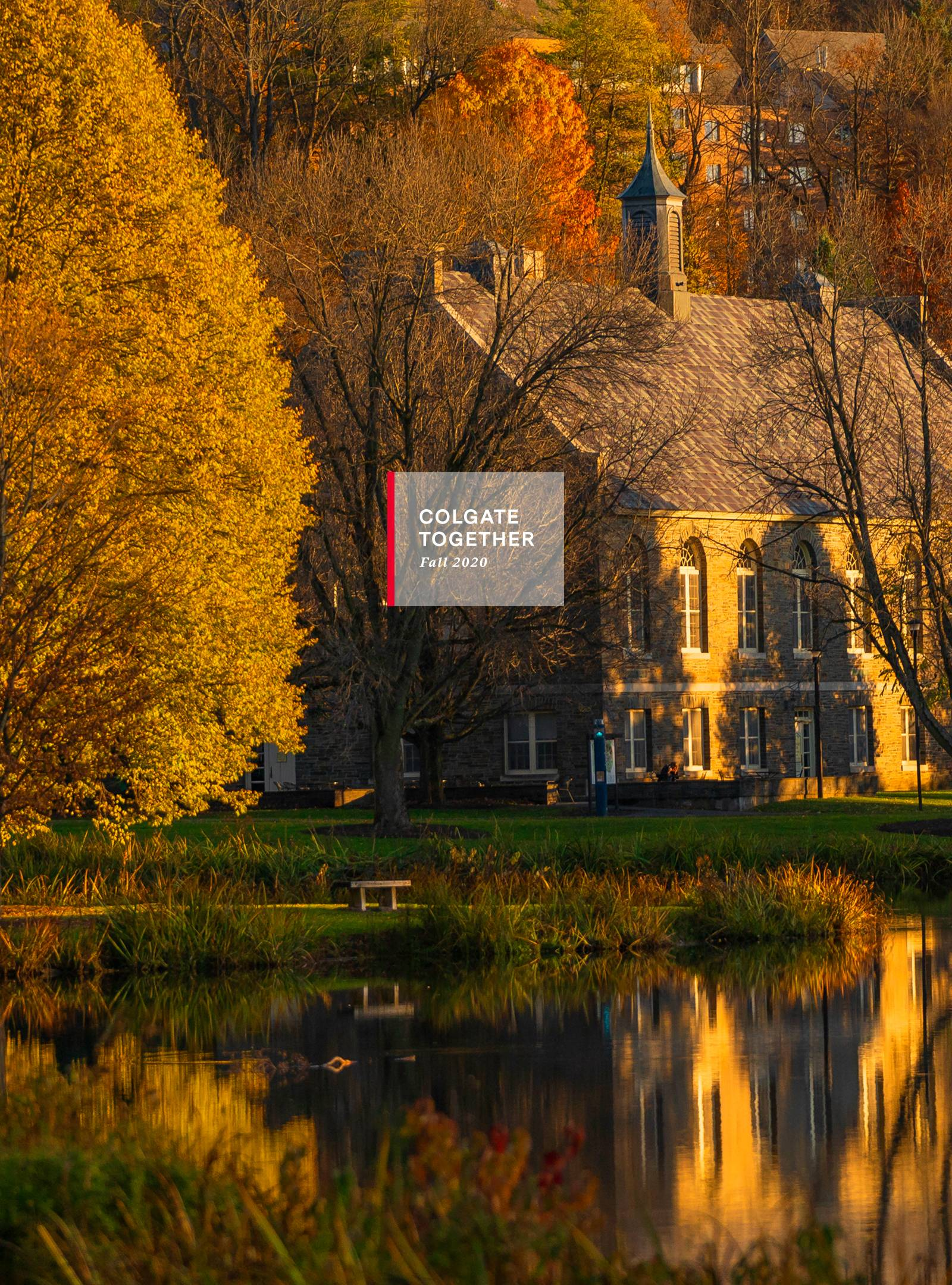scenic shot of autumn on campus with Colgate Together header