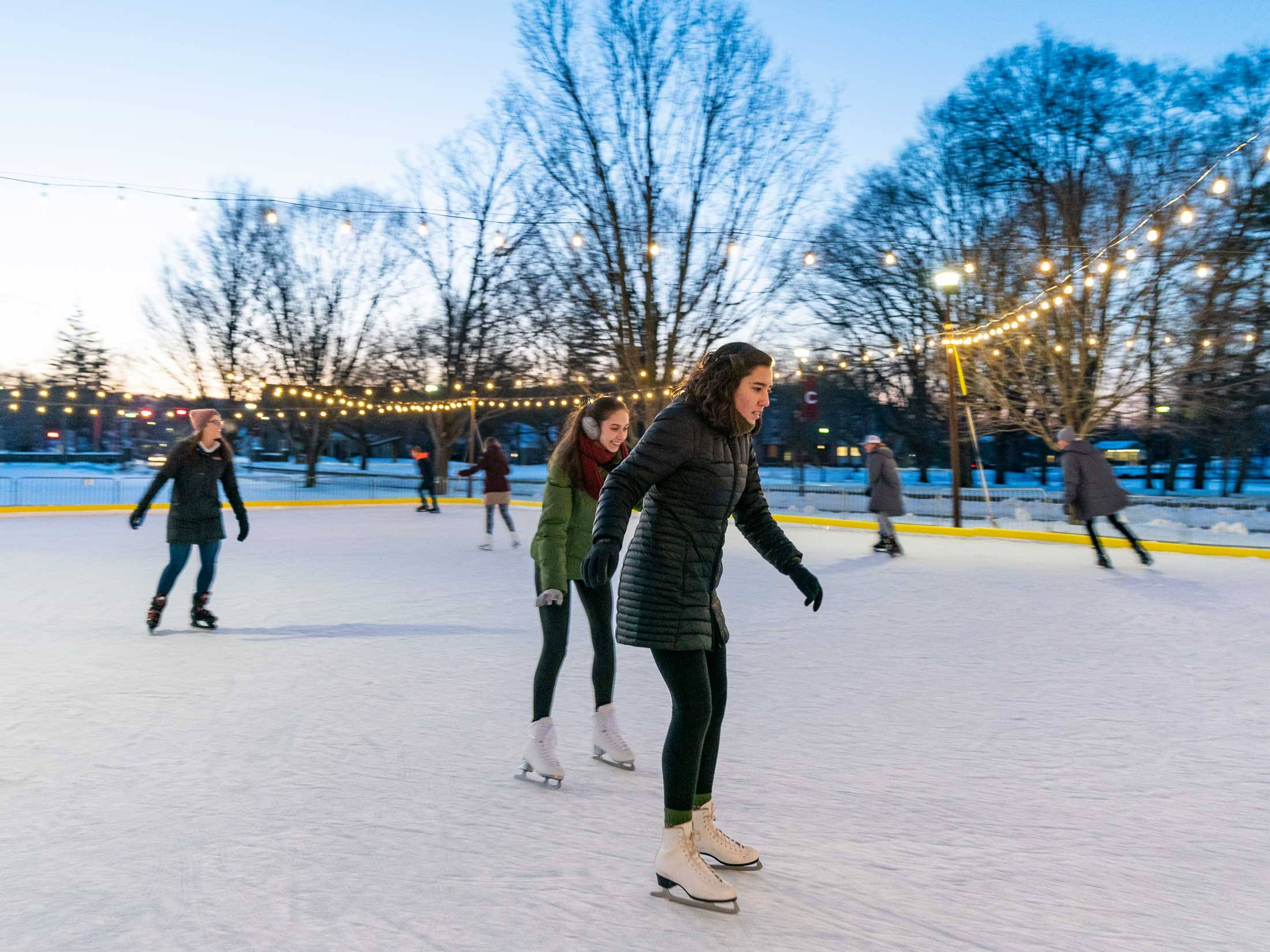 Students skate on Whitnall Field rink