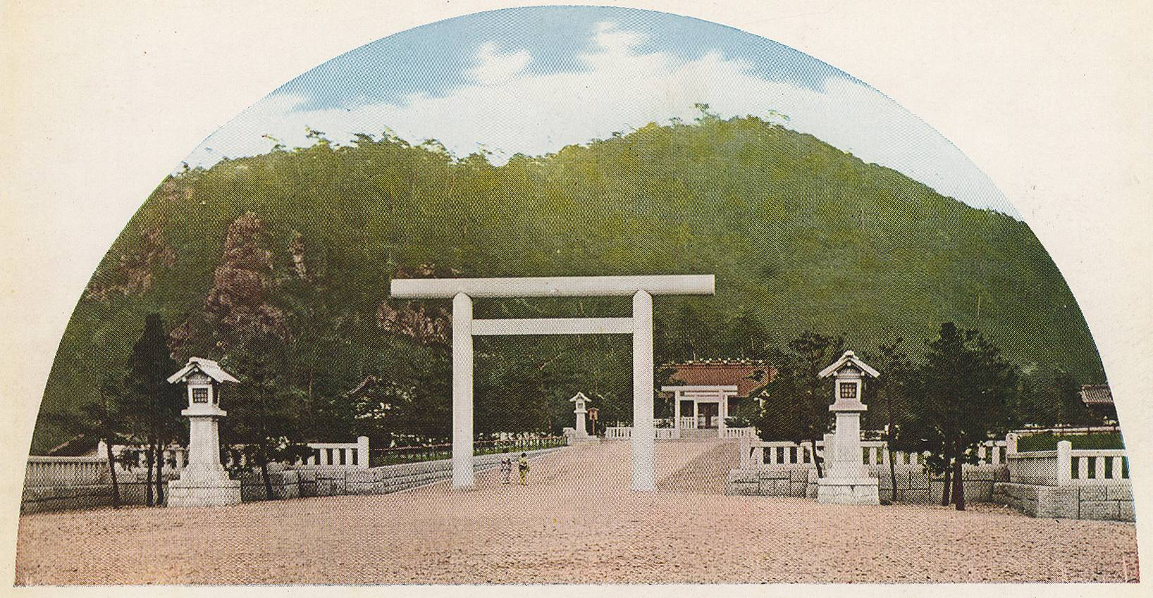 """The Shinto shrine that protects Korea."" From a series of postcards dedicated to famous spots in Keijō (as Seoul was known during Japanese colonial rule during the first half of the twentieth century)."