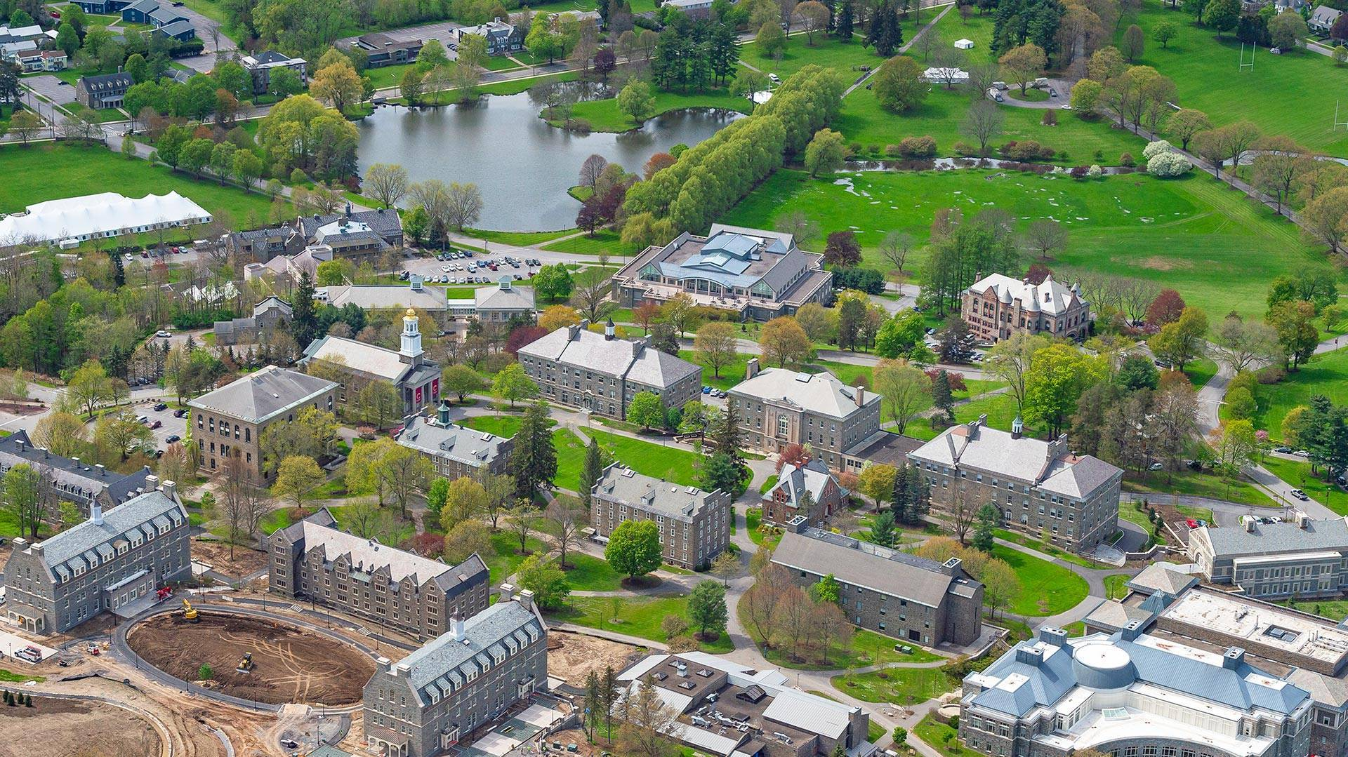 Aerial view of Colgate's campus