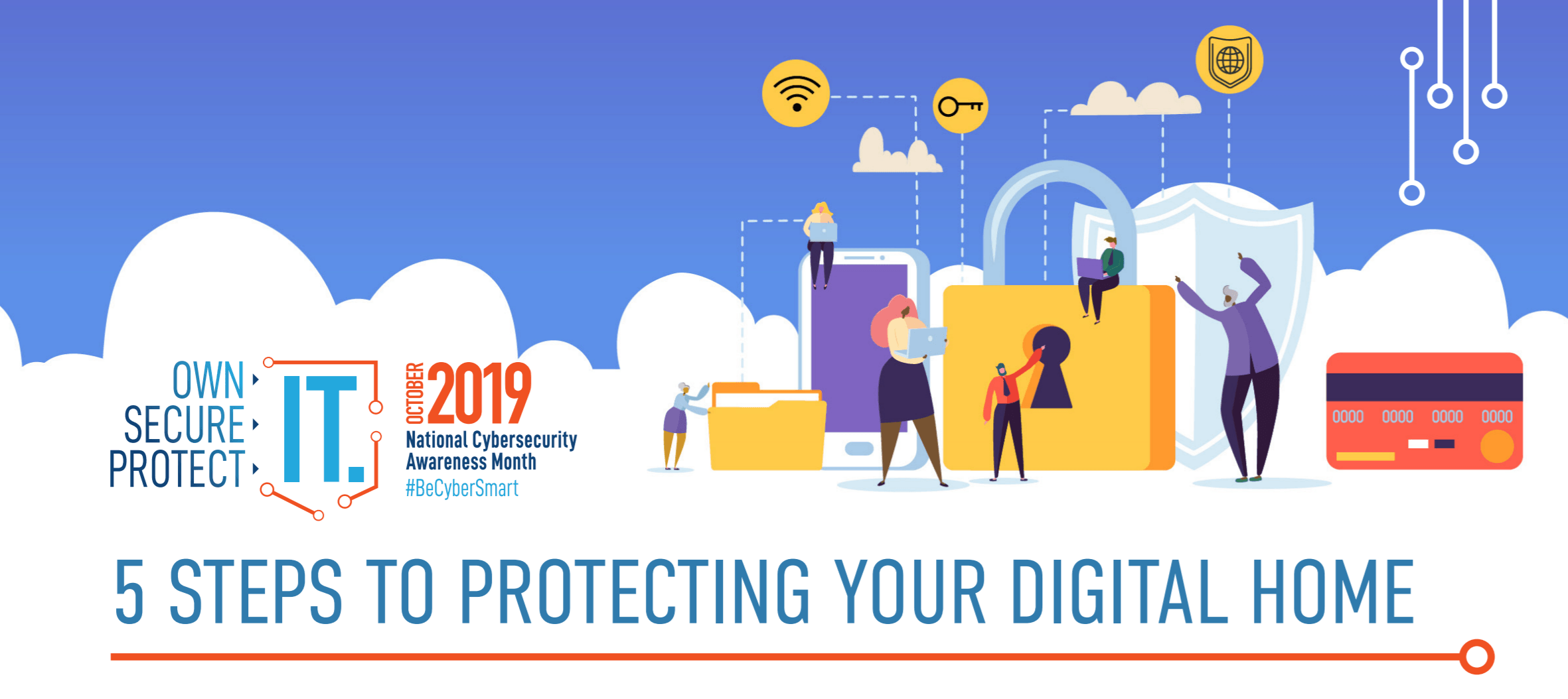 NCSAM 5 Steps to protecting your digital home logo