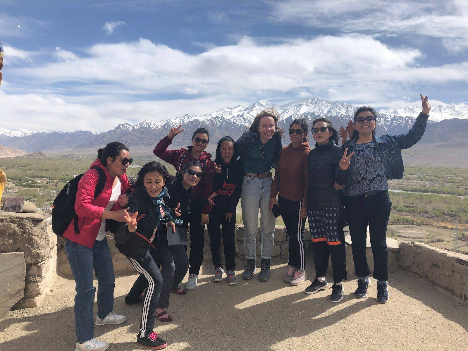 Researcher Margaret Pulte with guides from the Ladakhi Women's Travel Company, Thiksey Monastery, Ladakh, April 27, 2019