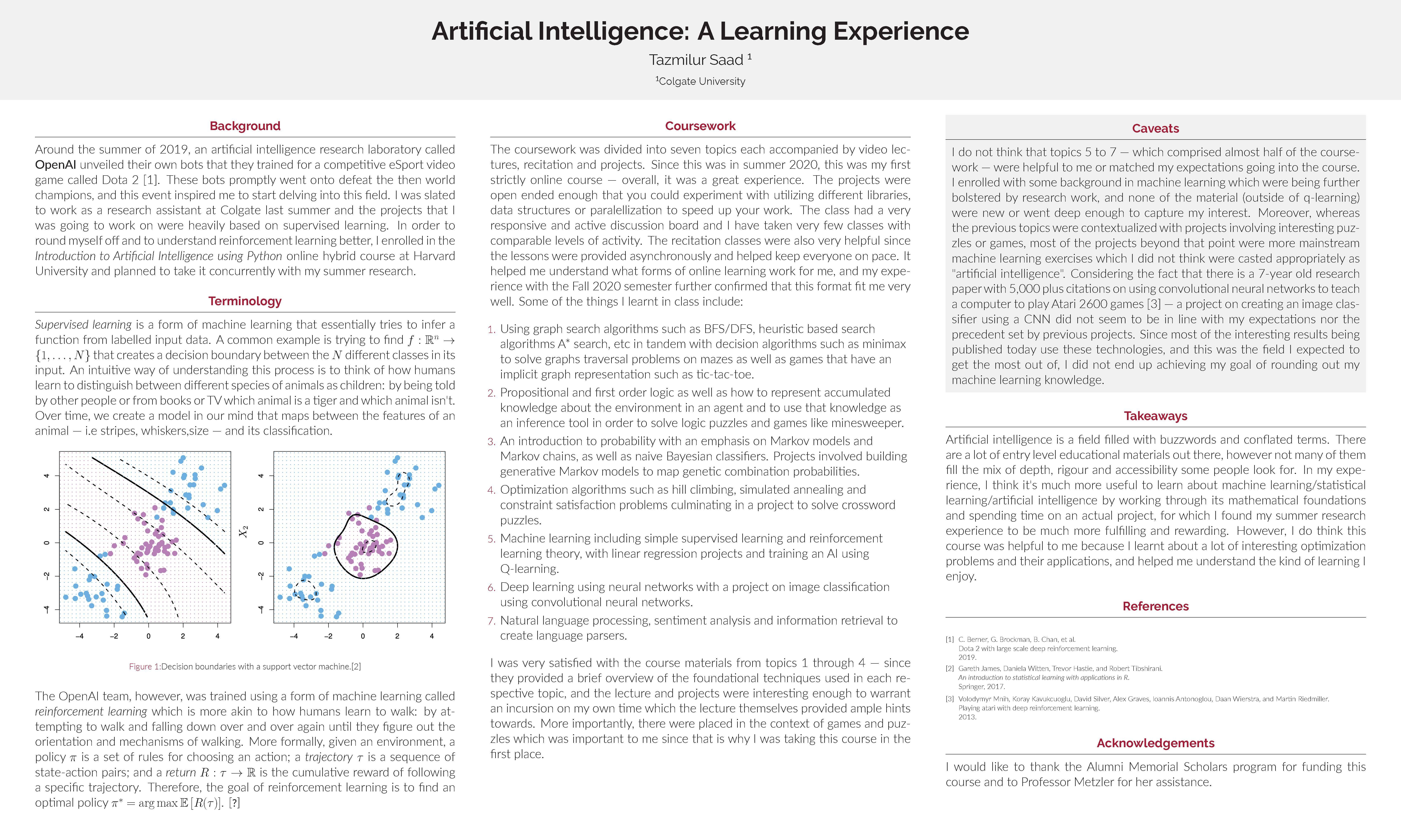 Tazmilur Saad '22: Artificial Intelligence - A Learning Experience
