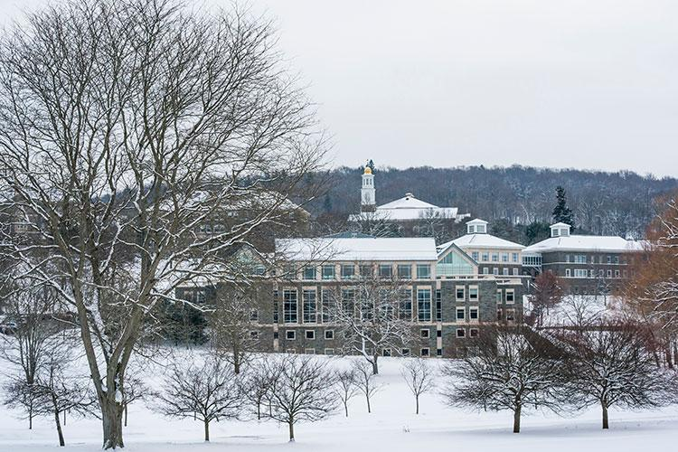Colgate University campus in winter