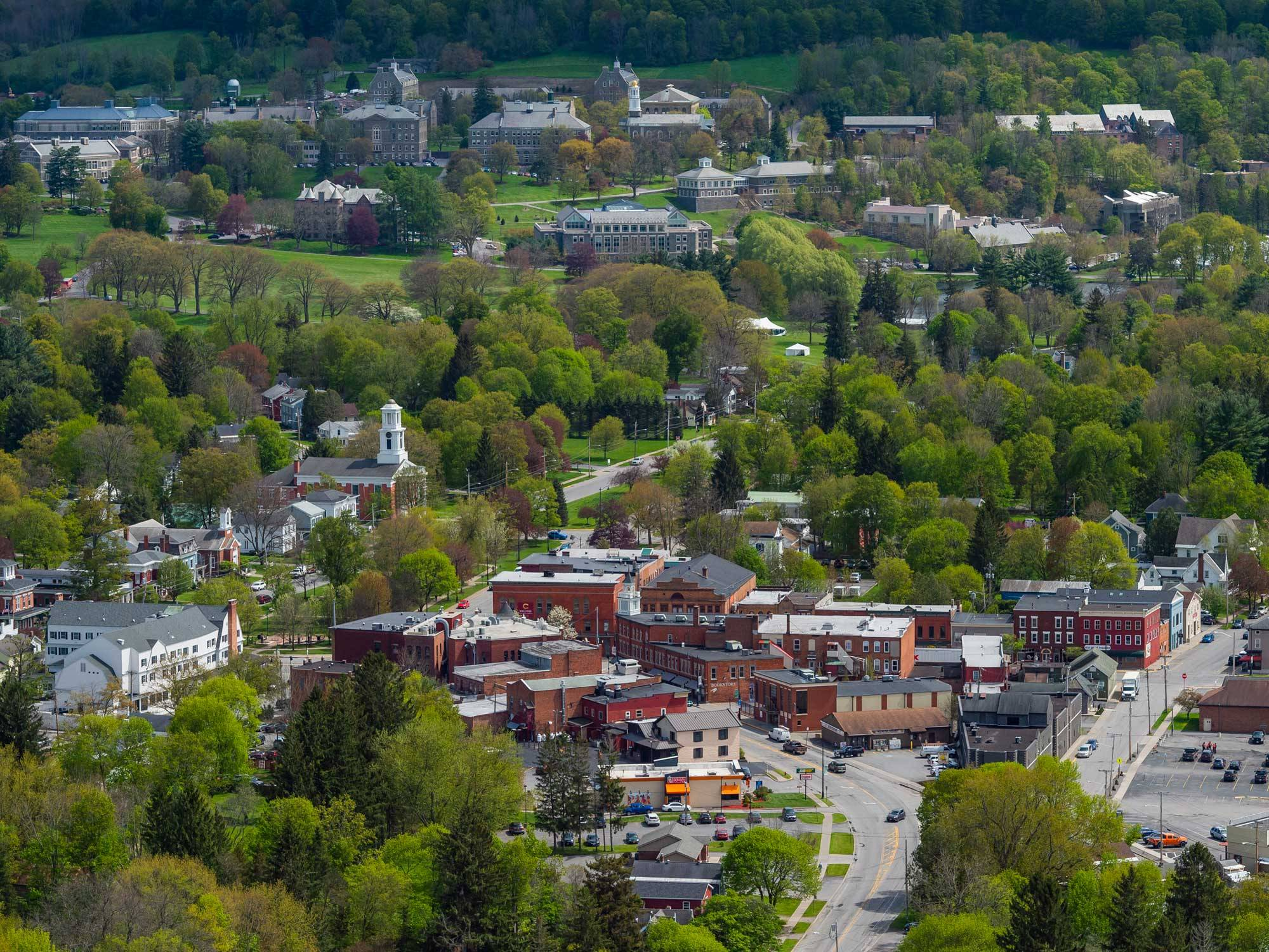 Aerial view of the Village of Hamilton and Colgate