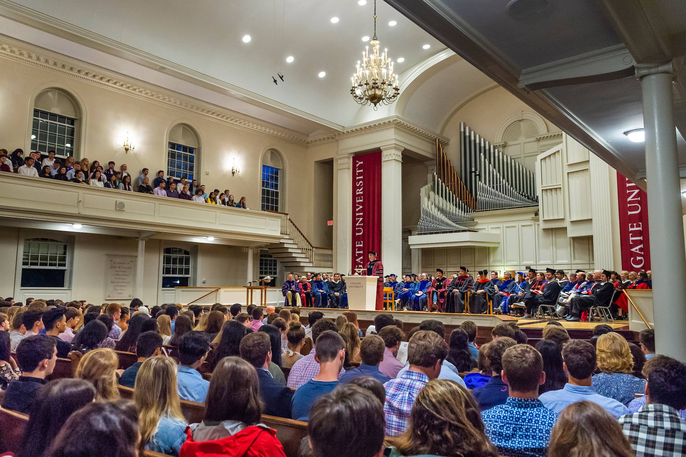 Students in the Class of 2023 gathered in the Colgate Memorial Chapel for Convocation Wednesday, August 28, 2019.
