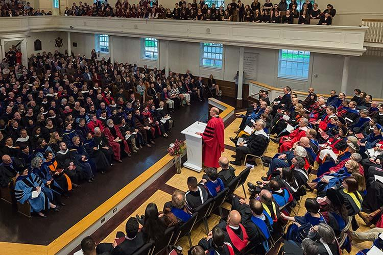 President Brian W. Casey addresses a full Memorial Chapel during his inauguration ceremony.