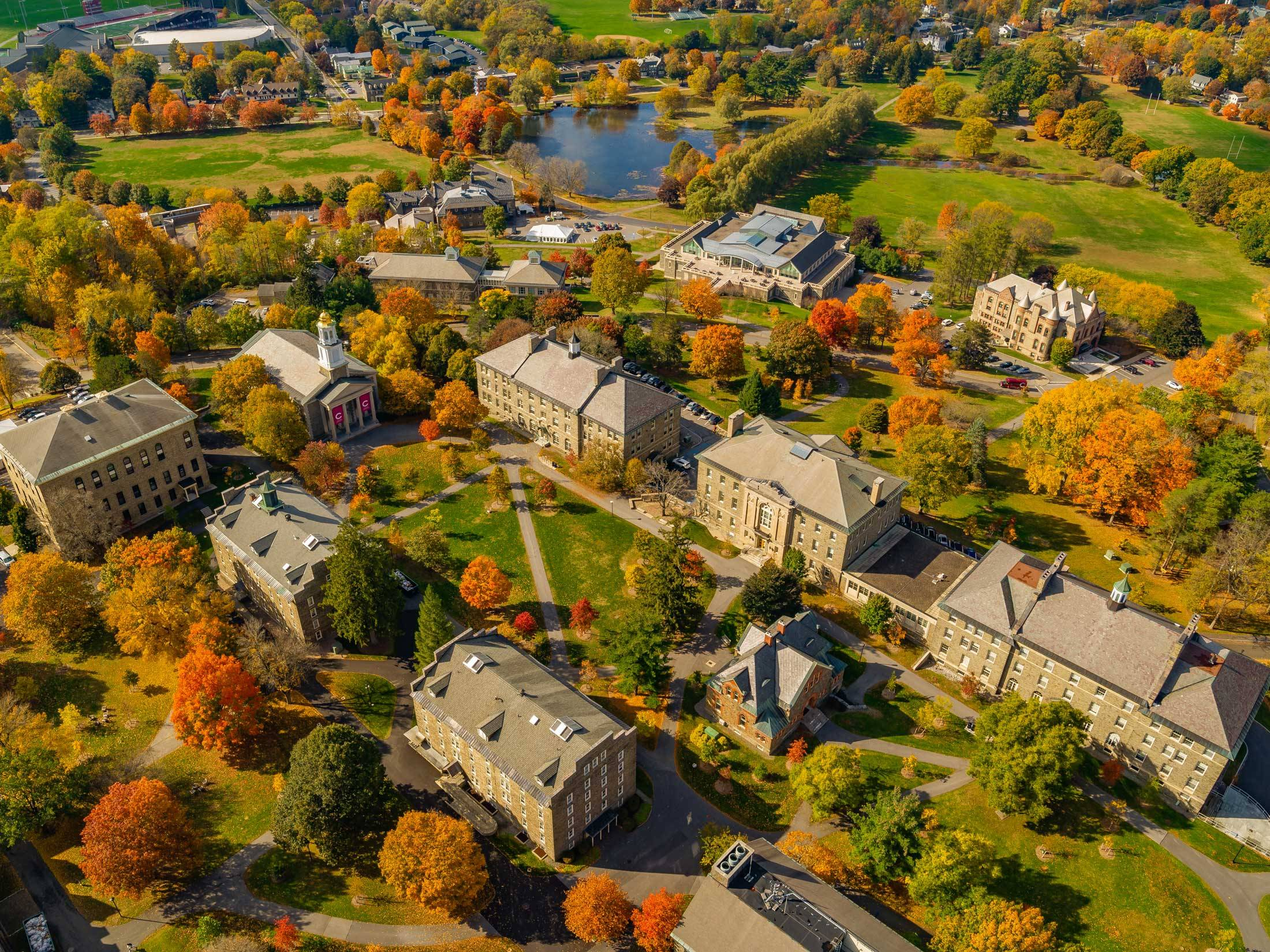 Aerial picture of campus in fall
