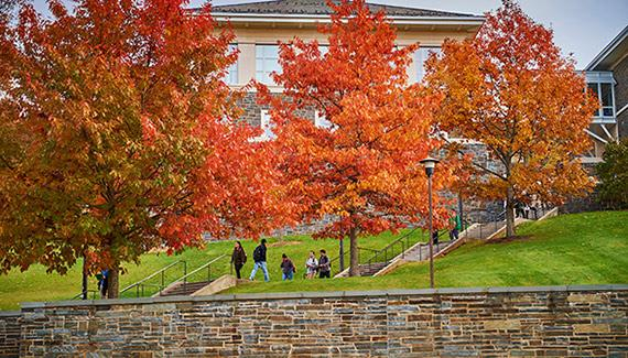 Persson Hall with fall foliage
