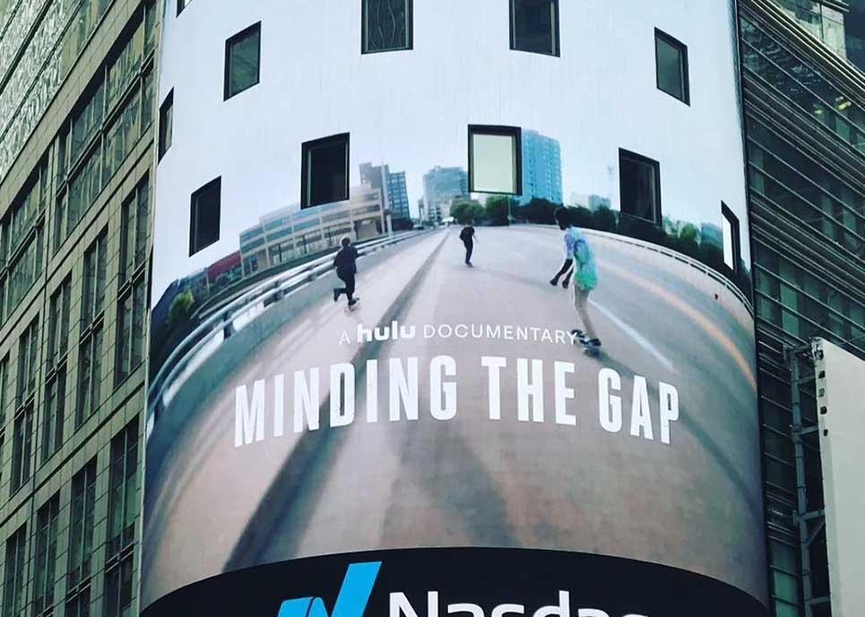 Minding the Gap billboard in Times Square