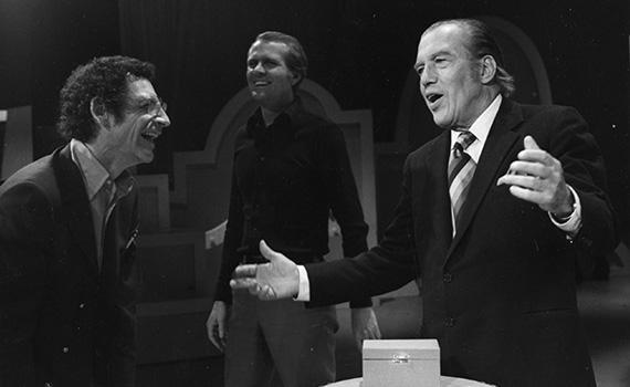 Robert Arthur and Ed Sullivan laugh