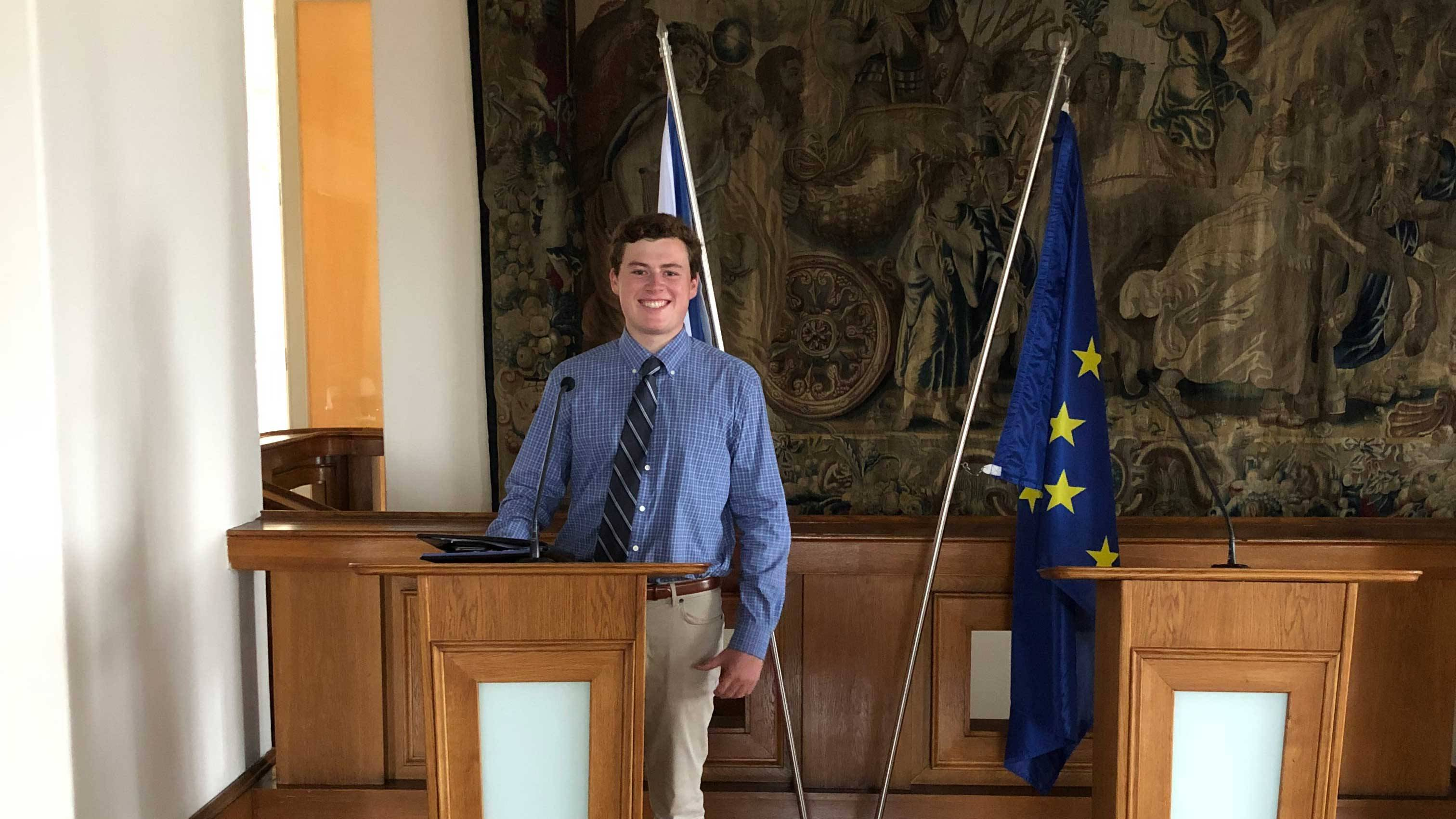 Chris Burke '21 at the Czech Ministry of Foreign Affairs