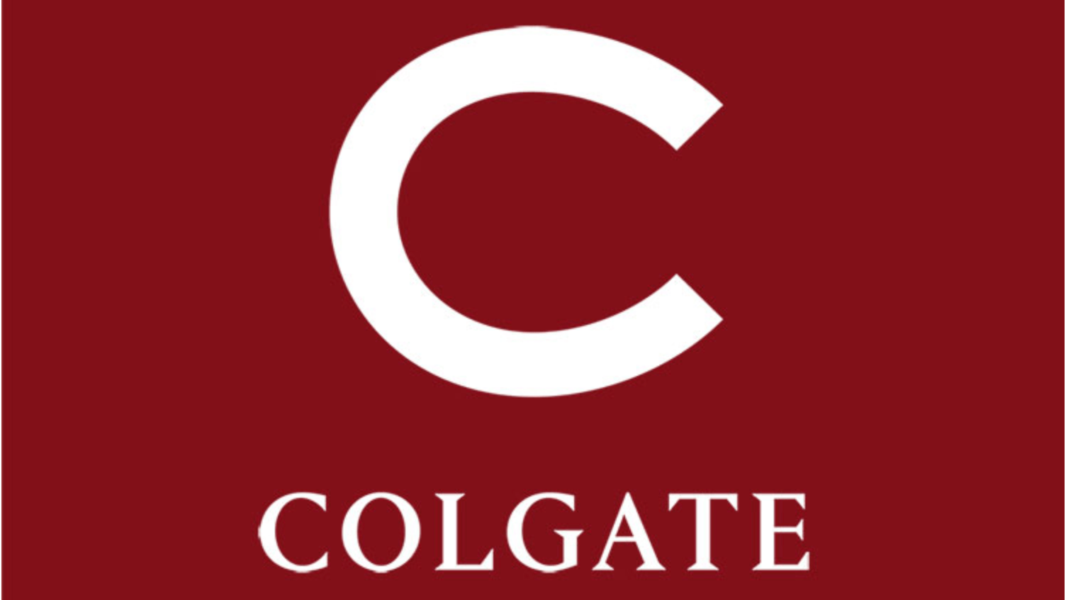 White Colgate 'C' on maroon background with 'COLGATE' underneath