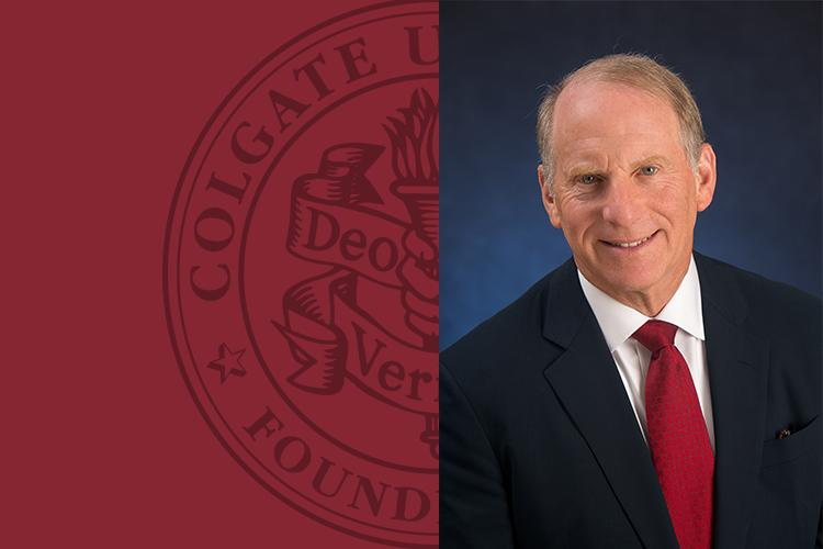 Portrait of Richard Haass, president of the Council on Foreign Relations with Colgate seal to the right