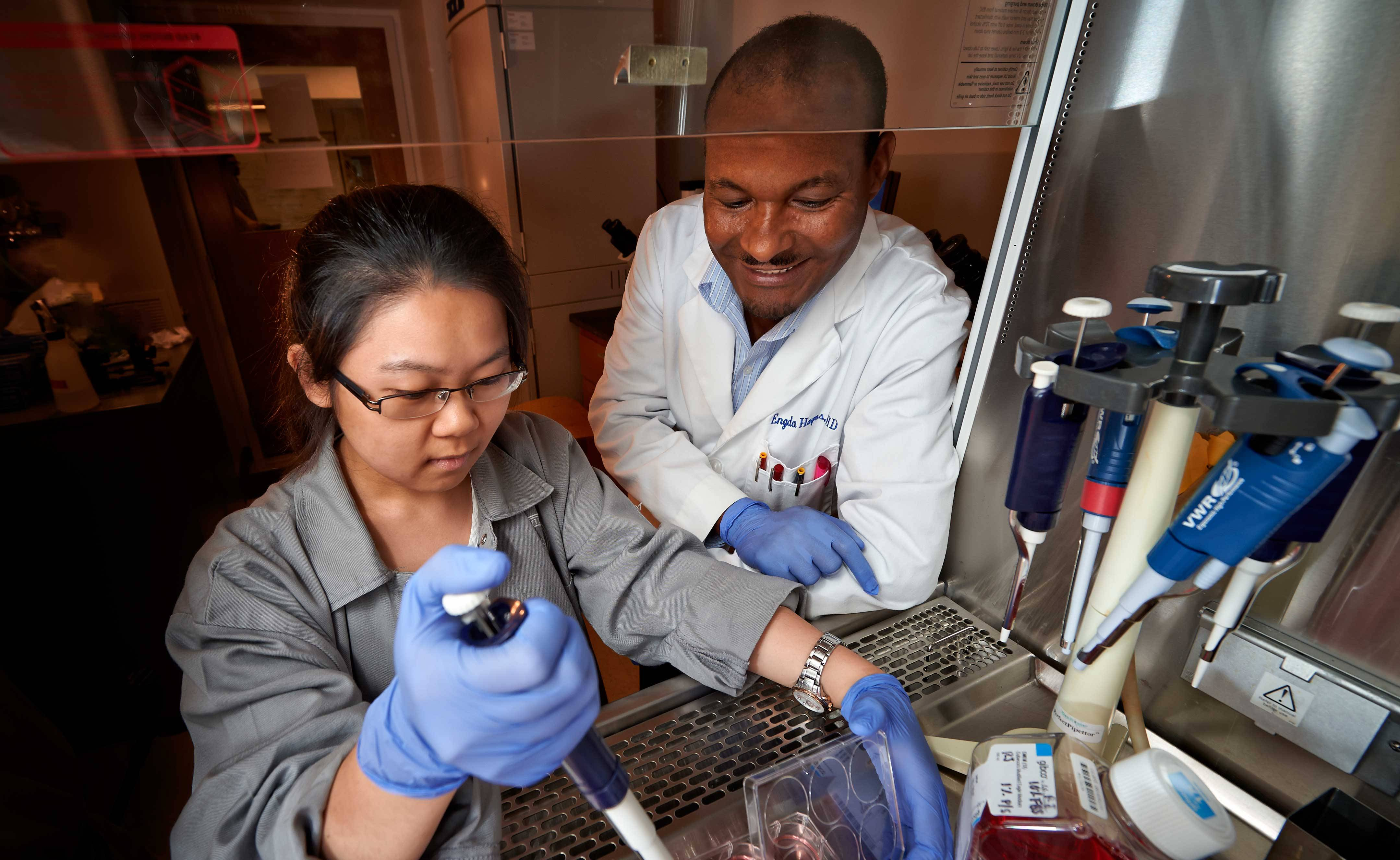 Associate Professor of Biology Engda Hagos works with Changchang Liu '15 in the summer of 2014