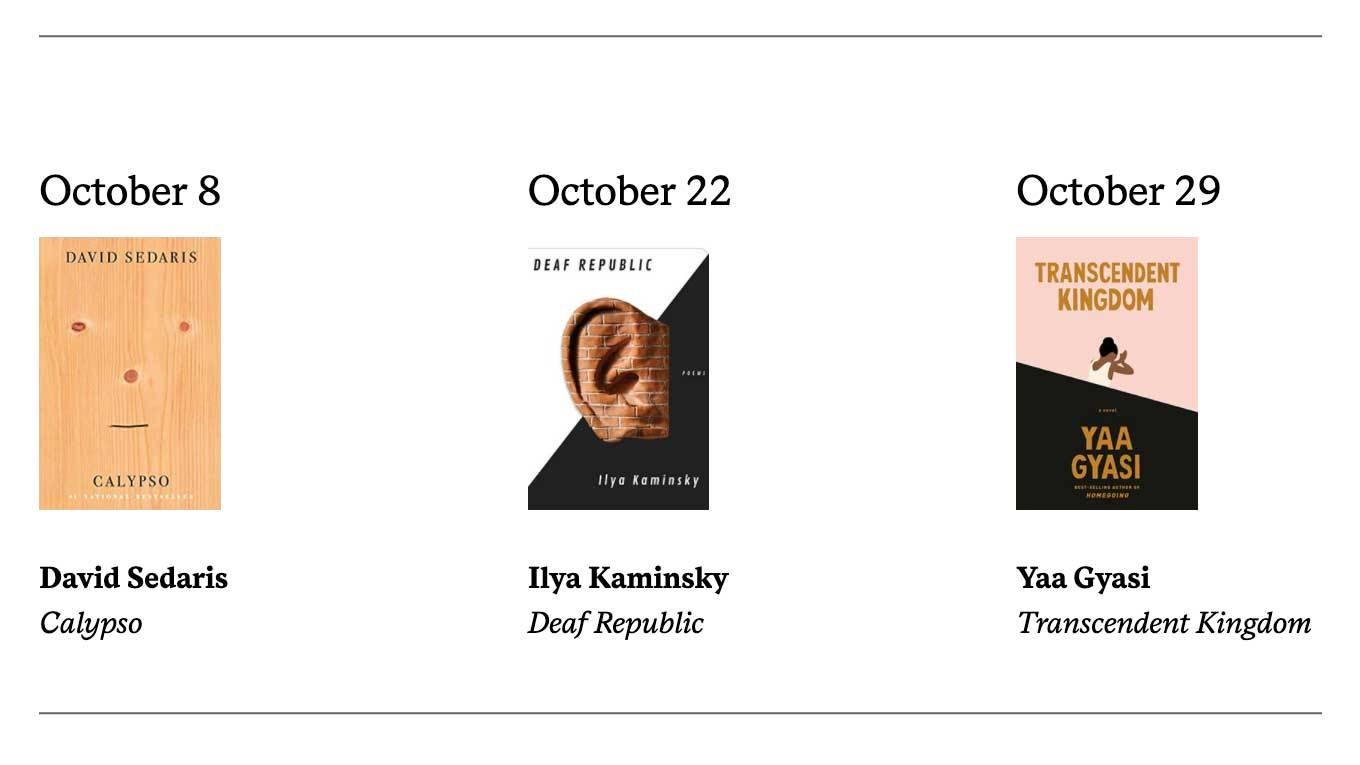 Living Writers October Book Covers