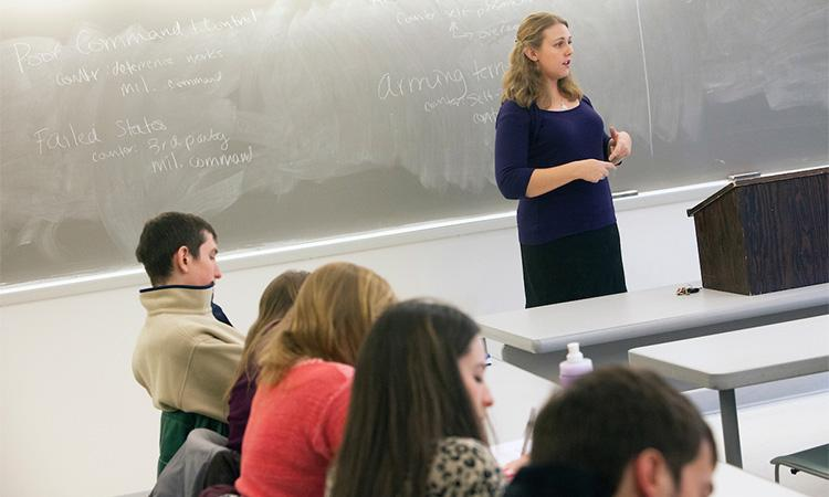 Assistant Professor of Political Science Danielle Lupton gives a lecture in a recent class.