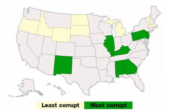 This is a map of the US showing corruption by state from the Washington Post