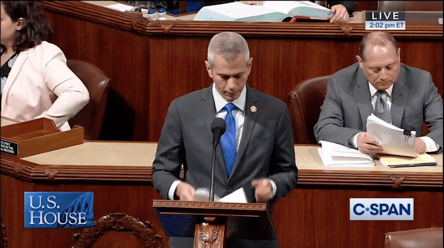 U.S. Representative Anthony Brindisi reads a proclamation on the House floor