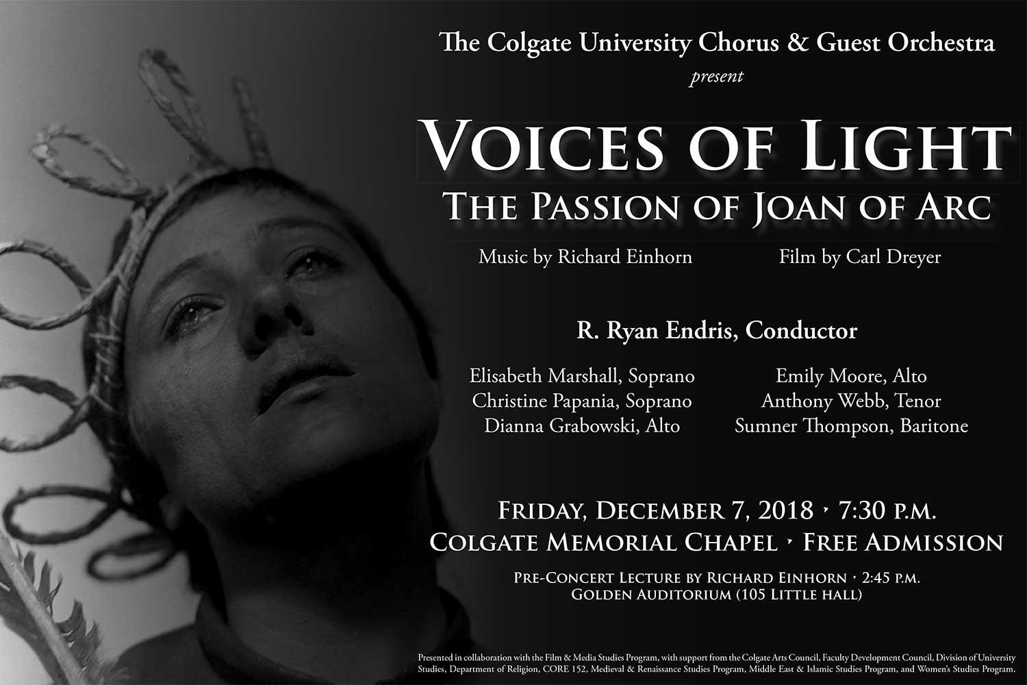 Voices of Light promotional poster showing Renée Falconetti as Joan of Arc