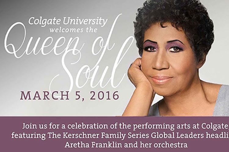 Invitation to see the Queen of Soul, with a headshot of Aretha Franklin