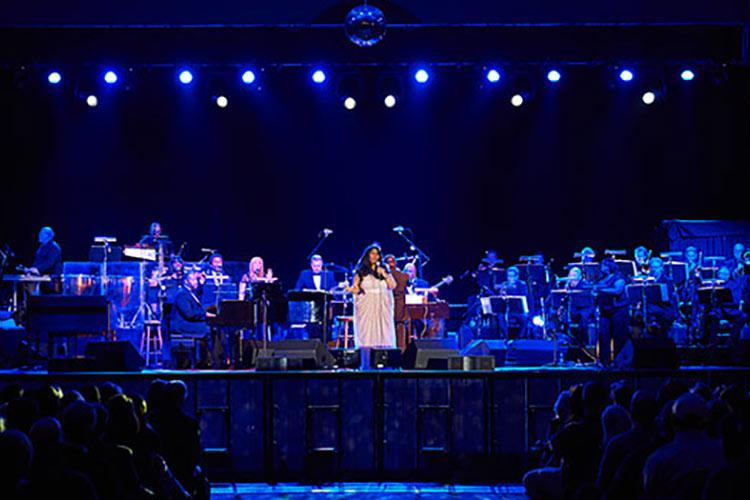 Aretha Franklin and her orchestra on the stage in Sanford Field House