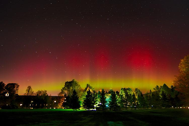 A view of the aurora borealis from campus