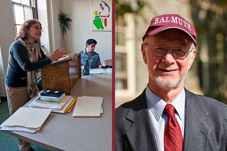 "Split image of Lourdes Rojas-Paiewonsky teaching and Professor Chris Vecsey in a baseball cap that reads ""Balmuth"""