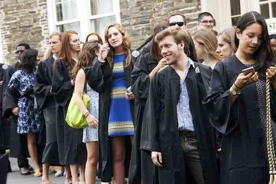 Students line up for baccalaureate at Colgate University