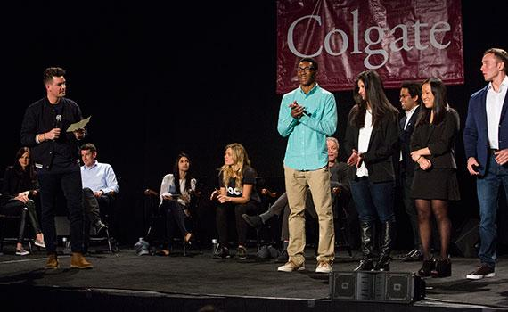 Thought Into Action students gather on stage at Colgate's fifth Entrepreneur Weekend celebration