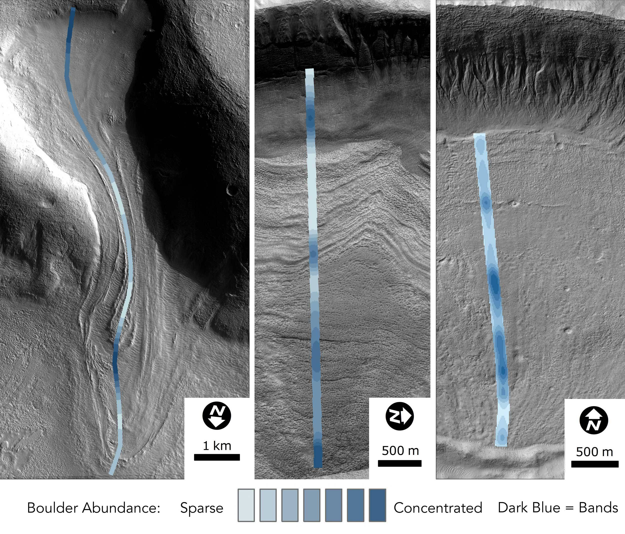 comparison of glacier debris on martian surface