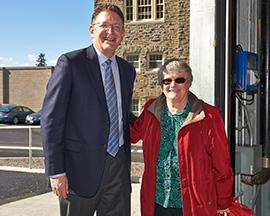Colgate President Jeffrey Herbst and Hamilton Mayor Margaret Miller spoke about the cooperation that led to the introduction of natural gas to the campus and community. (Photo by Dylan Crouse '15)