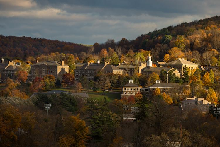 Colgate University is pictured with fall foliage