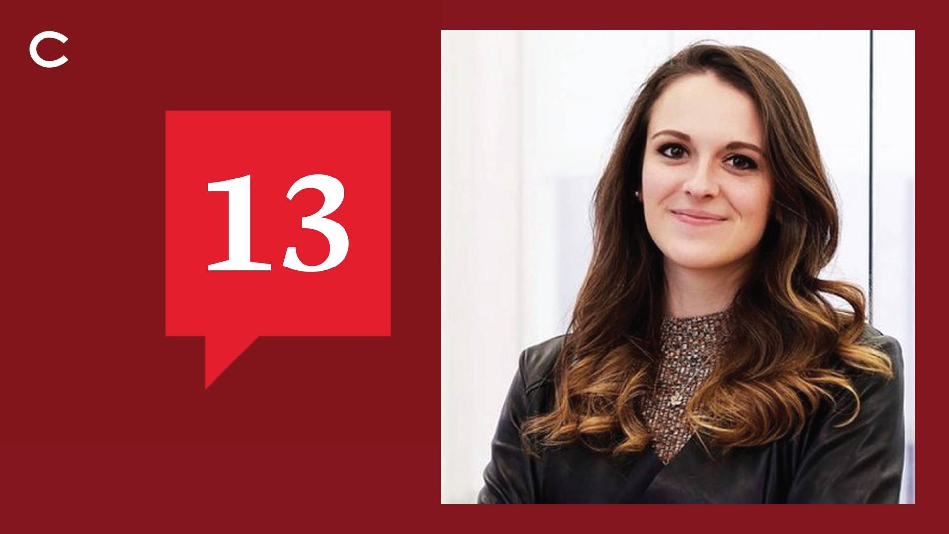 Portrait of Natalie Sportelli '15 with 13 Podcast logo